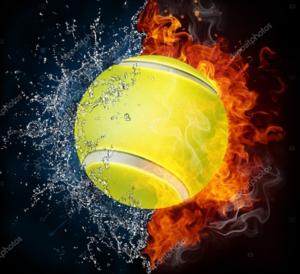 Balle tennis eau feu
